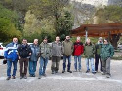 La squadra operativa per nastratura del Brenta anti ittiofagi 2016